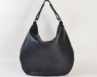 Roselle - Handmade Black Leather Hobo Shoulder Bag.