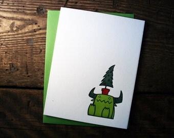 Letterpress Christmas Tree Monster Card - single