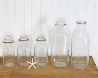 Glass Milk Bottles Mismatched Set of Five 5 Clear