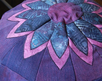 Purple and Batik Pouffe, reclaimed denim, handmade in the USA