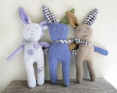 Plush Bunny Handmade, Cashmere Rabbit Toy, Bunny Rabbit Plush Purple Floral Wool, Easter Basket Rabbit, You Choose One