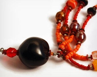 Kukui 4 U, Kukui Nut Necklace Ultra Long Beaded Necklace, black orange red, Art careers, Sarahbushka