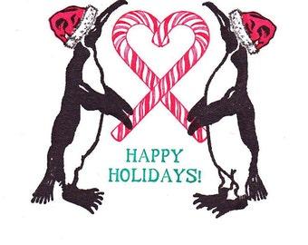 Happy Holidays Penguins Boxed Set of 6 Letterpress Printed Original Illustration