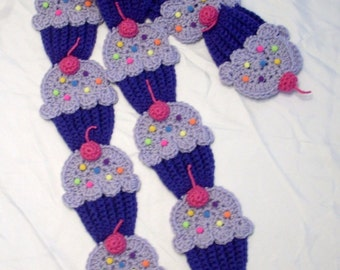 Cupcakes Scarf  Kimmy Gibbler Crochet Grape Purple Berry Pink Cherry sprinkles sweet Foodie food yummy scarf crochet Ready To Ship
