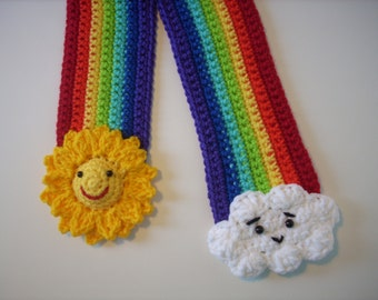 Rainbow SCARF happy face sun and cloud crochet rainbow gay pride crochet sun crochet cloud bright rainbow Ready To Ship