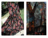 90's Grunge Dark Floral Button Up Semi Sheer Maxi Dress
