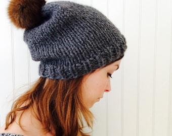 My furry pompom hat in grey ( sale )