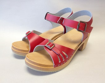 Red Vera medium heeled sandal clog with buckled ankle strap