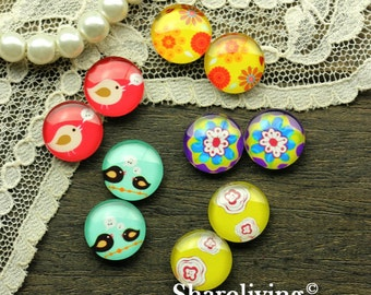 10pcs (5 Pairs) 12mm Mixed Handmade Photo Glass Cabochon  -- MCH016N