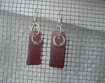 PURPLE Beachglass inspired earrings on silver plated wires.  Seaglass jewelry