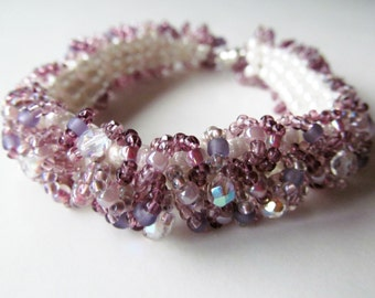 Purple and White Caterpillar Beadwoven Bracelet READY TO SHIP - No No Bracelet
