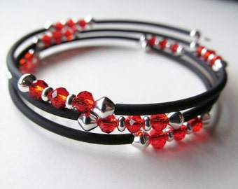 SALE Orange Crystal and Black Beaded Memory Wire Bracelet