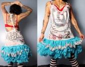Womens Jumper Dress, 80's punk fashion, studded graffiti dress, braided back, painted dress, broken doll babydoll dress
