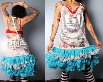 SALE. Womens Jumper Dress, 80's punk fashion, studded graffiti dress, braided back, painted dress, broken doll babydoll dress