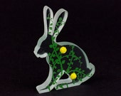 Rose Glass Hare Sculpture Green Screen Printed Enamel Custom Cast Rosebud