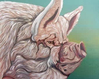 Pig Farm Art 8 x 8 Original Canvas Painting -Carla Smale