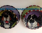 whimsical ceramic dog bowl hand painted glazed bernese mountain dog love maggie brudos tangerine studio