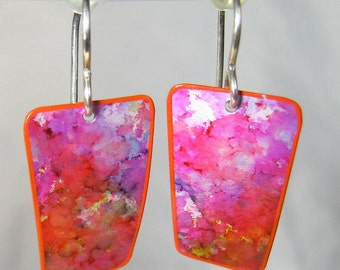 Handpainted Earrings - Purple and Red - Lightweight - Sterling Silver Earwires