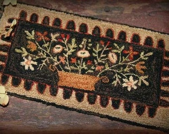 Primitive Folk Art Punchneedle Embroidery Pattern: Indian Summer-Weavers Cloth and Preprinted Design Included