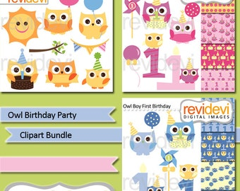 First birthday clipart sale bundle, commercial use clip art / cute owls yellow, pink, blue / birthday party clipart, digital papers
