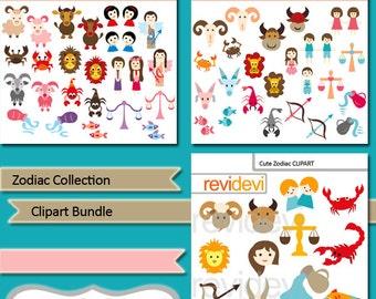 Zodiac Collection digital clipart bundle - cute horoscope commercial use clip art digitals - MGB138