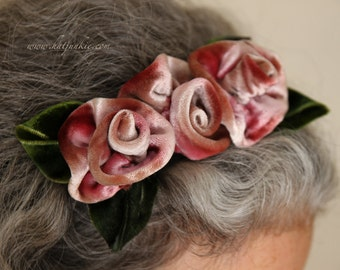 Pink Velvet Fascinator - Headband - Silk Velvet Roses