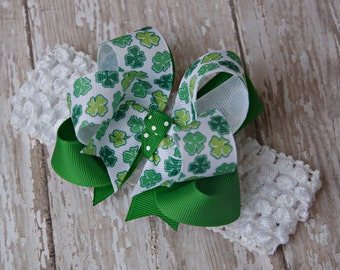 Boutique Headband Luck of the Irish Layered Infant/Toddler Shamrock St. Patrick's Day Hair Bow Bowband