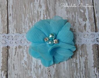 Turquoise Flower Newborn Headband Infant Preemie Headband Newborn Headband Preemie Lace Headband Blue Shabby Chic Headband