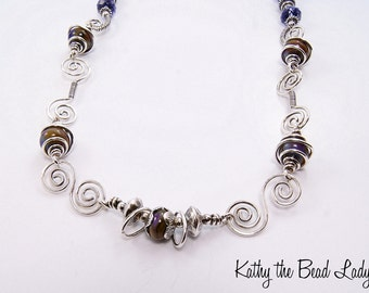 Lampwork Sterling Silver Wire Wrapped Necklace-KTBL