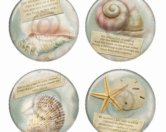Sea Shell Ocean Inspired Quotes Magnets or Pinback Buttons or Flatback Medallions Set of 4