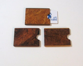 Gift card Box Three Pack Made From Exotic Burl Woods