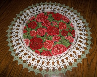 Roses, Doily, Crocheted Edge, Fabric Center, Red and Dark Pink Roses, Crochet, Centerpiece, Handcrafted