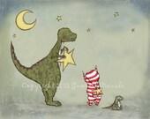 Children's Art Print - My Real Dinosaur Nursery Artwork Boy Room Decor Dinosaur and Star