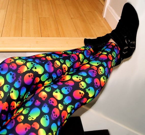 Neon Rainbow Skull Stretch Lycra Leggings