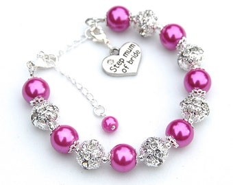Step Mum of Bride Charm Bracelet, Step Mum of Groom Charm Bracelet, Bridal Party Jewelry