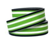 """7/8"""" Striped Grosgrain Ribbon by the Yard / Surfboard Stripe / Preppy Green Ribbon / Striped Ribbon Green Blue White / Hair Bow Supplies"""