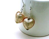 Blush Beige Murano Glass Puffy Heart Dangle Earrings  Simple Caring