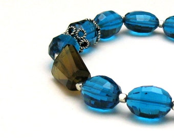Teal Blue Quartz Luxe Modern Beaded Bracelet, Glam Gemstone High End Fashion Statement, for Her Under 450