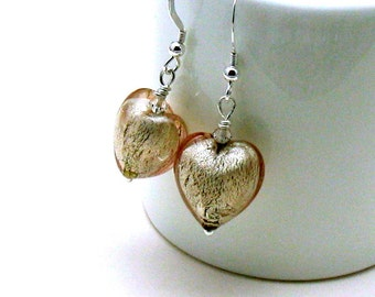 Blush Beige Murano Glass Puffy Heart Dangle Earrings,  for her Under 60, Simple Caring,