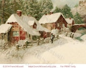 Antique Postcard Winter Scene Neighbors Instant Download Christmas Village with Bridge
