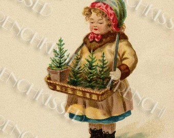 Little Christmas Tree Girl Antique Postcard Digital Scan Printable Instant Download