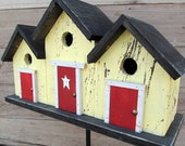 Primitive Birdhouse Triplex Three Compartment Yellow Red Door