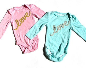 love...Gold Or Silver ... Baby Shower...Fabric Iron On Applique