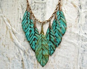 Turquoise statement necklace patina leaf necklace statement jewelry gift for wife bohemian jewelry