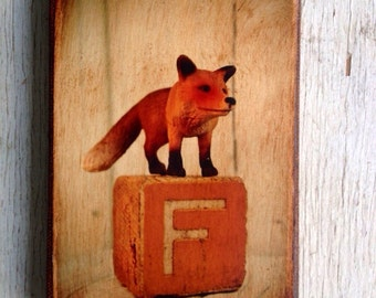 Vintage Toy  F is for Fox Art/Photo - Wall Art 4x6