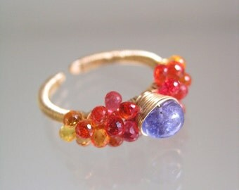 Tanzanite Sapphire Gold Filled Ring - Wire Wrapped Orange Sapphire Jewelry - Periwinkle - Tangerine - Ombre Design - Signature - Size 8