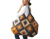 Chunky Granny Sguare Afghan Colorful Croched Handbag With Leader Handles - Orange Brown Ecru by AFRA