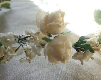 Bridal Crown of Vintage Millinery Flowers and Leaves, Handmade, One of a Kind, Ready to Ship