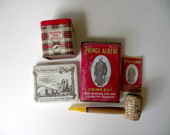 Tobacco Tins Pipe and Paper Lot Instant Vintage Collection  Prince Albert Corn Cob Pipe