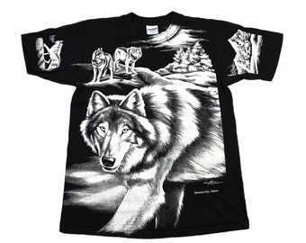 Vintage 1994 Wolves Shirt in Black and White Made in Canada Mens Size Large